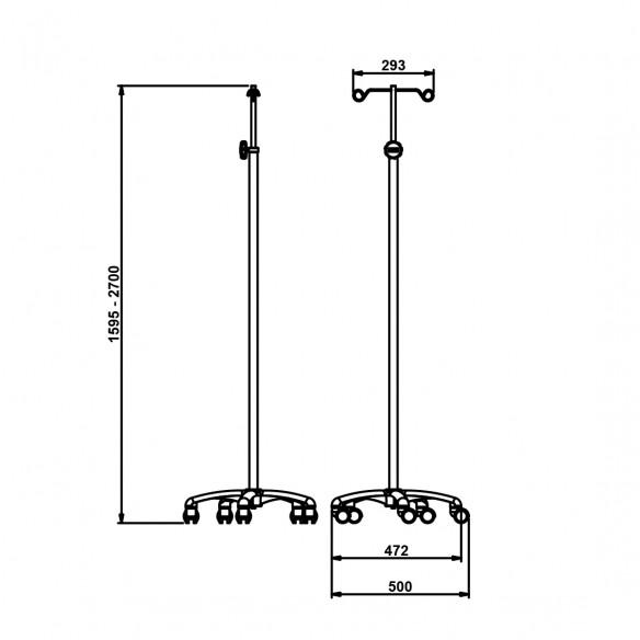 IV pole on wheels