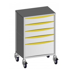 Anaesthesia trolleys model 4 drawers of 120 mm and 1 drawer of 240 mm